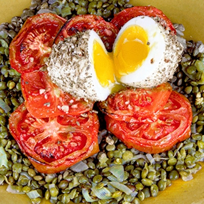 Dukkah Eggs with Roasted Tomatoes & Green Lentils